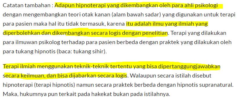hukum hipnoterapi menurut ulama islam